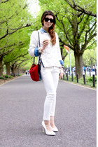 white H&M sweater - blue denim Forever 21 shirt - ruby red suede Zara bag