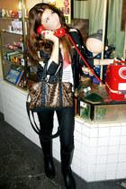 leopard print Topshop bag - rain boots sam edelman boots - biker fishbone jacket