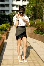 gray wrap skirt Three Floor skirt - white SLY shirt - white pumps asos heels