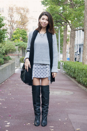 black H&M boots - silver statement H&M necklace