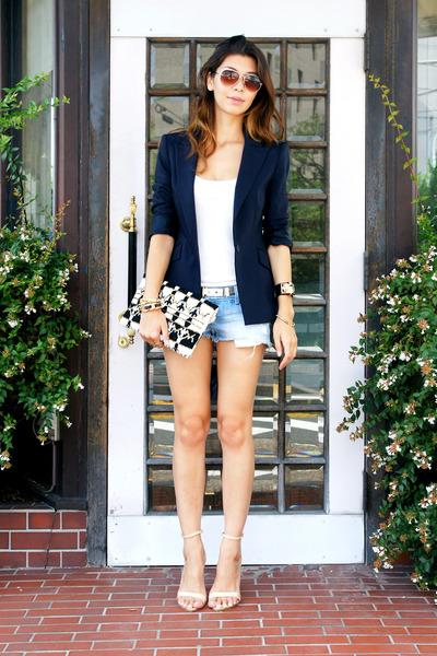 navy Zara blazer - black clutch Zara bag - sky blue hollister shorts