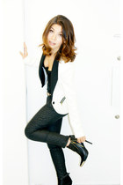 black booties Forever 21 boots - white Bershka blazer - black leather Zara pants