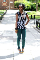 silk blouse blouse - jeans - necklace - heels - bracelet