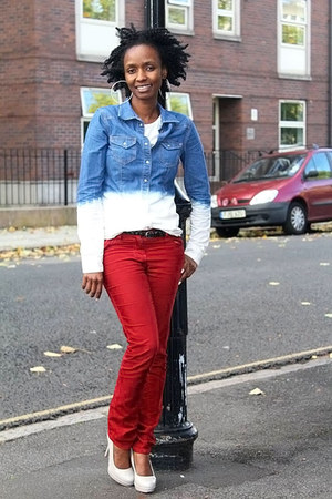 blue H&M shirt - red next jeans - off white Dorothy Perkins heels