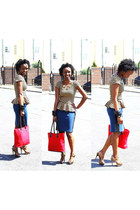 brown blouse - ruby red red tote bag bag - navy military skirt skirt