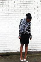 new look blouse - Peacocks scarf - off white grey heels Dorothy Perkins heels