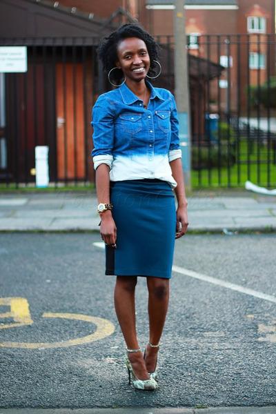 H&M shirt - Forever 21 skirt - thrifted heels