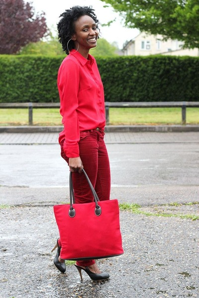 red red tote bag bag - black slingback heels shoes - brick red pants