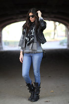H&M jeans - Fiorentini  Baker boots - Lacoste top - Bebe jacket - Alexander McQu