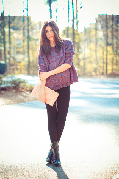 Guess boots - Sparkle and Fade sweater - clutch hm bag