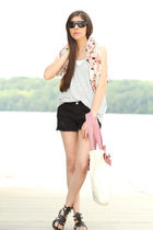 black Urban Outfitters shoes - beige Loft purse - gray Seventh Door top - Alexan