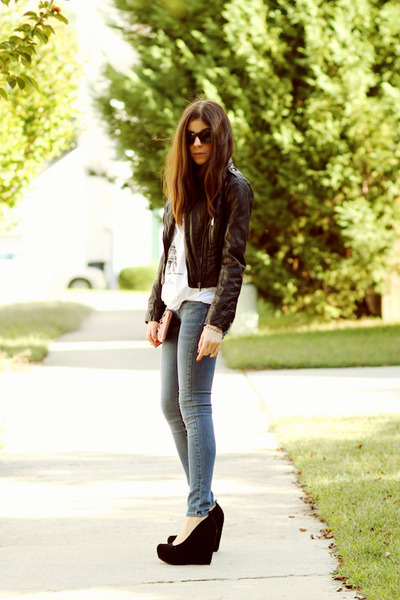 black Bebe jacket - black wedges Aldo shoes