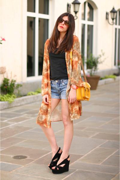 kimono we are rubbish coat - The Leather Satchel Co bag - Bon Look sunglasses -