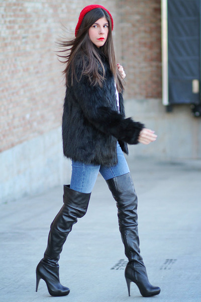faux fur asos coat - over the knee Topshop boots