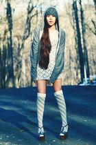 silver Jessica Simpson shoes - white cotton pancakes dress - gray American Appar