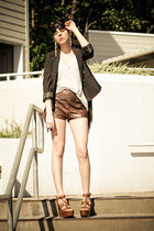 black H&M blazer - brown abercrombie and fitch shorts - brown ASH shoes - gray A