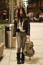 black Fiorentini  Baker boots - dark khaki Urban Outfitters bag - dark brown jac