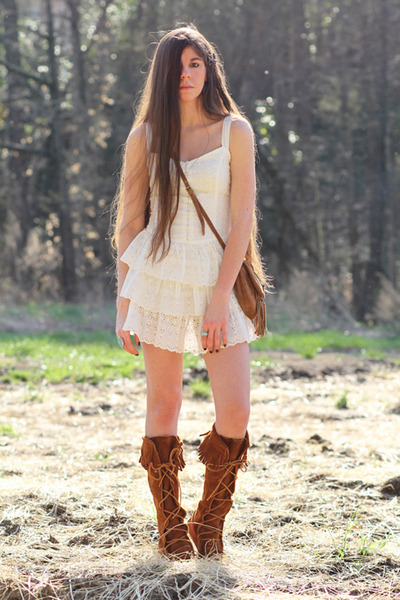 white eyelet Forever 21 dress - brown knee-hi boots Minnetonka shoes