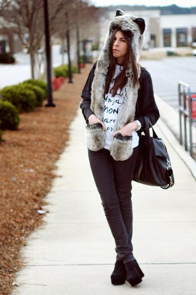 Spirit Hoods scarf - superfine jeans - Brashy Couture shirt