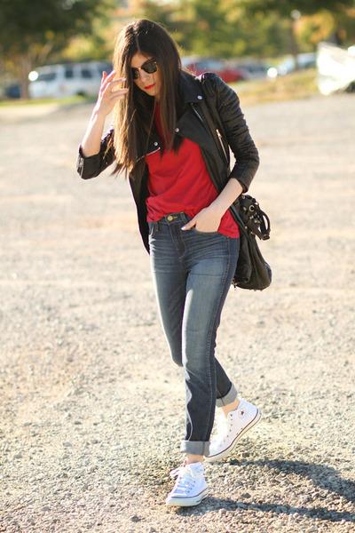 Converse sneakers - J Brand jeans - Alexander Wang bag - Ray Ban sunglasses