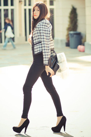 boucle Chanel blazer - riding pants American Apparel leggings - Chanel bag