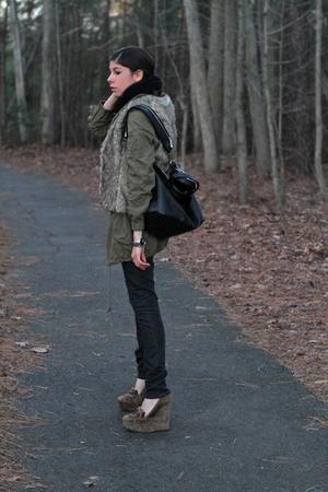 black American Apparel blouse - black superfine jeans - brown balenciaga shoes -