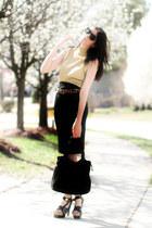 gold turtleneck vintage sweater - black Ralston bag - black balenciaga sandals -