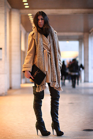 Topshop boots - vintage coat - YSL bag