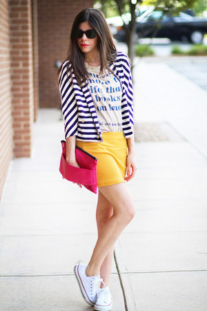 romwe skirt - romwe shirt - oversize clutch romwe bag - vintage cardigan
