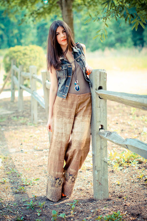 palazzo vintage pants - denim Guess vest - tank top isaac mizrahi top