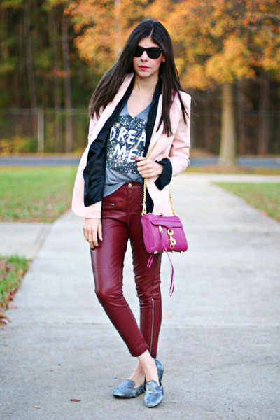 pink blazer - mac mini Rebecca Minkoff bag - leather romwe pants
