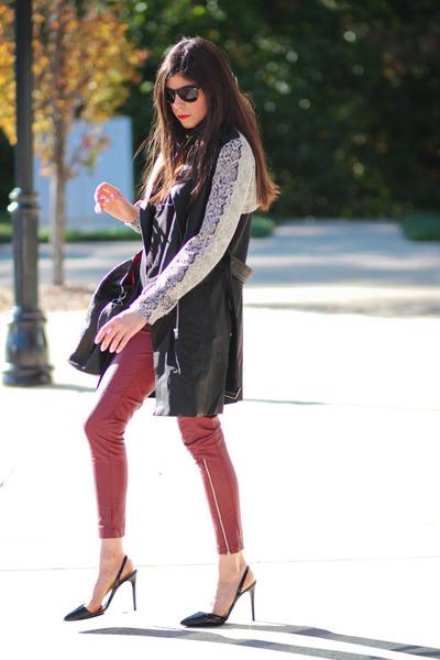 leather romwe pants - romwe coat - Givenchy bag - wayfarer ray-ban sunglasses