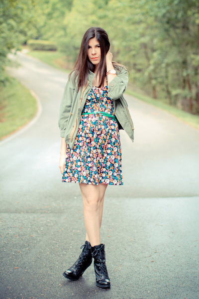 Guess boots - French Connection dress - music festival Dress & Co jacket - Marc
