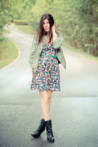 Utility Jacket and Floral Print Dress