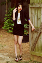 black Kimberly Taylor blazer - black American Apparel skirt - white wren t-shirt