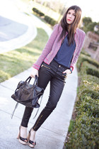 Zara blazer - balenciaga bag - leather Zara pants - Zara heels