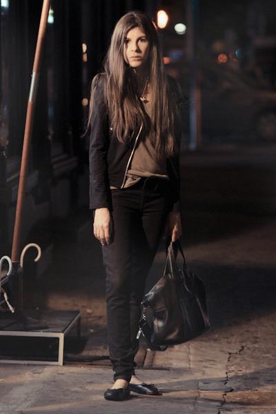 black sold design lab jeans - black sam edelman shoes - black nightingale purse