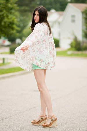 lace storets jacket - storets shorts - Gap t-shirt - espadrille Wanted wedges