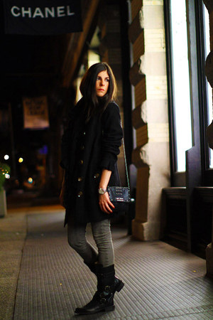 black vintage coat - heather gray INC jeans - black fiorentini and baker boots -
