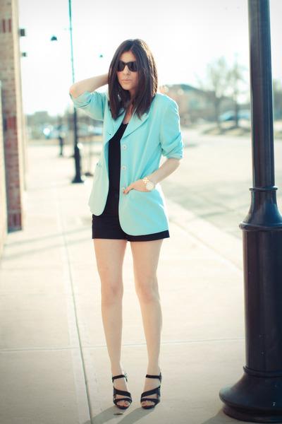 aquamarine vintage blazer - black Forever 21 shorts - black LAMB sandals