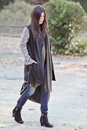 romwe coat - ankle Topshop boots - skinny J Brand jeans