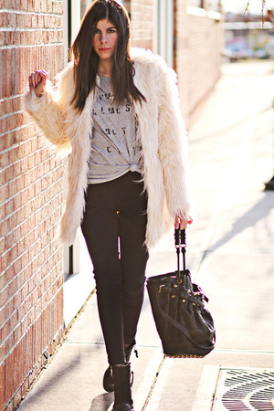 StyleMint t-shirt - Topshop boots - faux fur asos coat - Alexander Wang bag