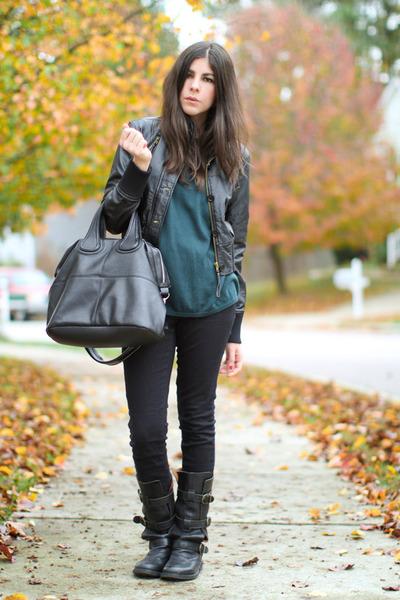 dark green vintage sweater - black Rave jacket - black fiorentini and baker boot