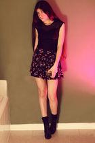 black American Apparel dress - blue Forever 21 skirt - black shop seventh socks