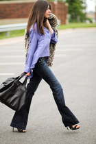 faux fur Nasty Gal coat - bell bottoms sold design lab jeans - LAMB sandals