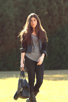 black vintage jacket - black sold design lab jeans - black Fiorentini  Baker boo