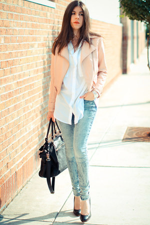 BDG jeans - leather No label jacket - asos blouse - Ralph Lauren watch