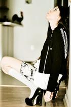 gray Cathbreath x Obey skirt - black platforms Aldo shoes