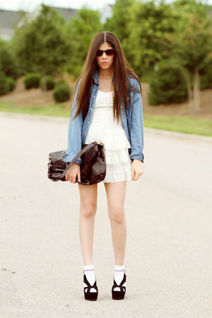 blue denim Topshop shirt - black mariel wedges Jeffrey Campbell shoes