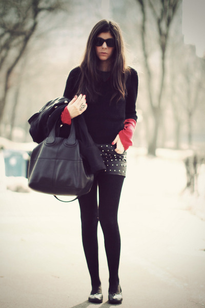 black Theory sweater - brick red Theory sweater - black studded we are rubbish s